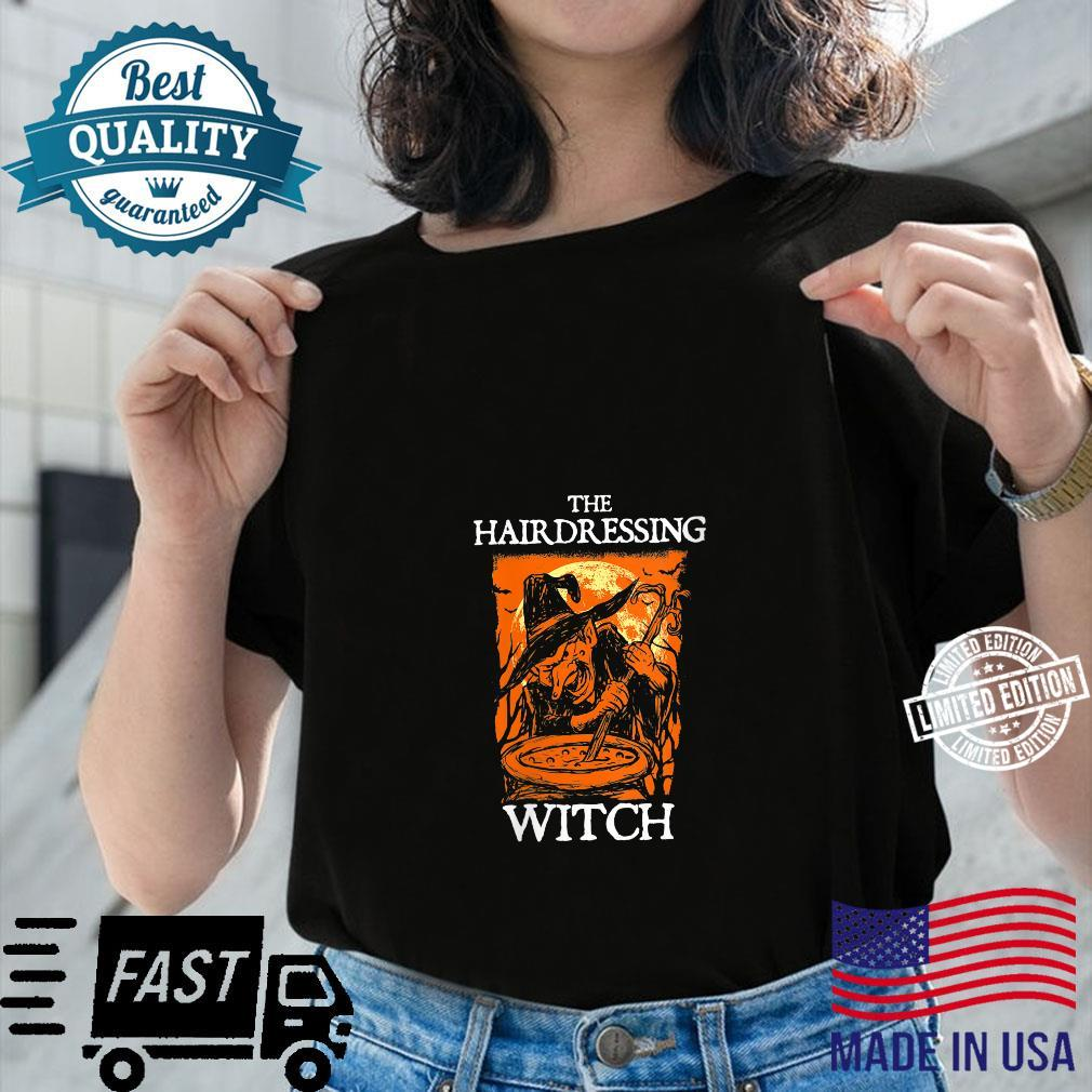 The Hairdressing Witch Halloween Hairdresser Scary Shirt ladies tee